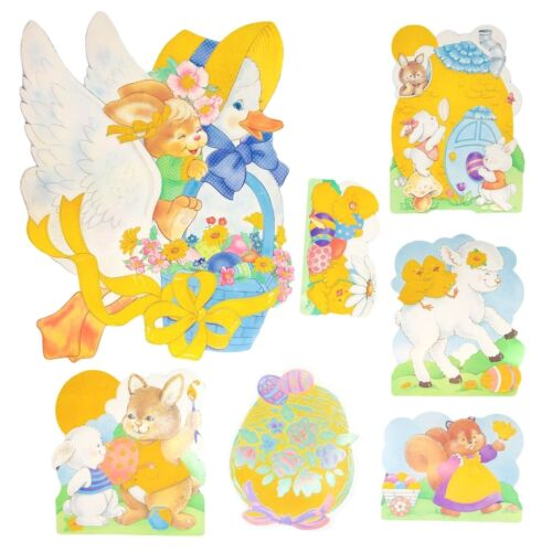 Vintage Flocked Easter Die Cut Decoration Lot Of 7 Yellow Areas Double Sided