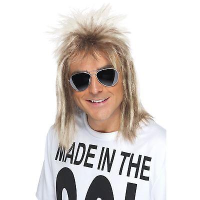 Mens Long 70s 80s Eighties Mullet Blonde Wig Rocker Music Fancy Dress Hair Style - 70s Mens Hairstyles