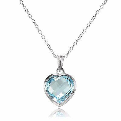 Sterling Silver Blue Topaz 10mm Bezel-Set Heart Pendant Necklace Blue Topaz Heart Cross