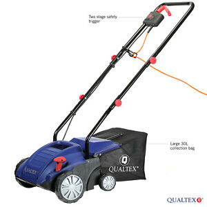 2 in 1 Electric Aerator Scarifier Wide Lawn Rake 1500W 4 Heights & Large 30L Bag