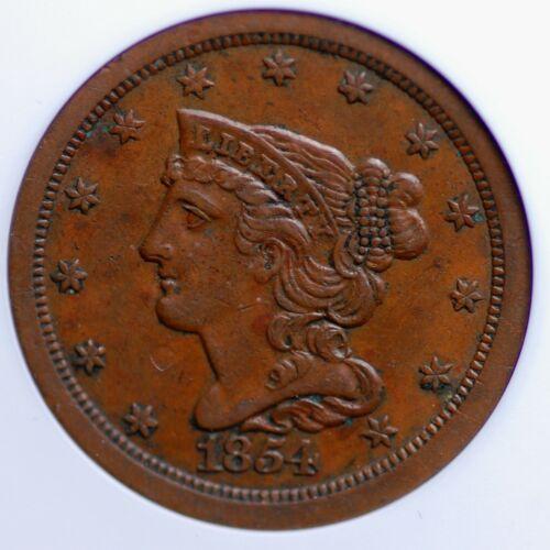 1854 BRAIDED HAIR HALF CENT OLD SMALL ANACS AU 50 CREAMY SMOOTH & PROBLEM FREE