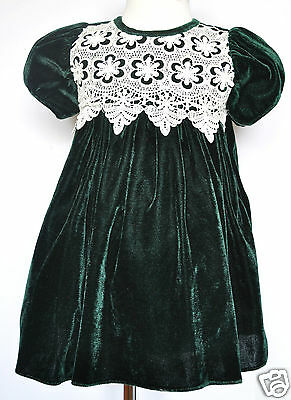 Hunter Green Baby Girl Toddler Velvet Holiday Formal Party Dress 6M 12M 18M - Green Velvet Baby Dress