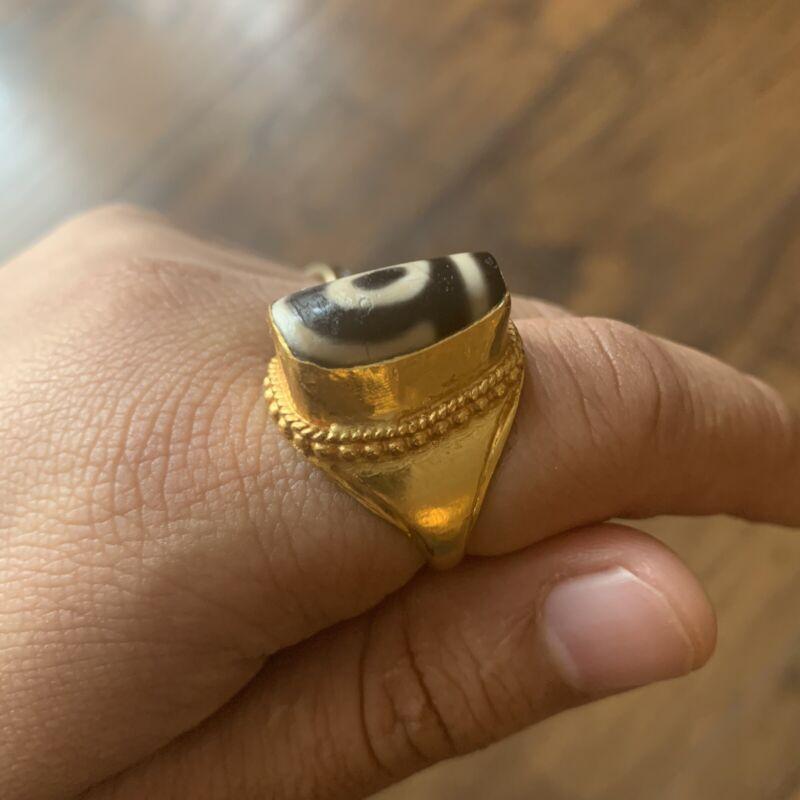 100% Genuine Tibetan 24 Karat Gold Ring With Ancient 3 Three Eye Dzi Gzi Bead 天珠