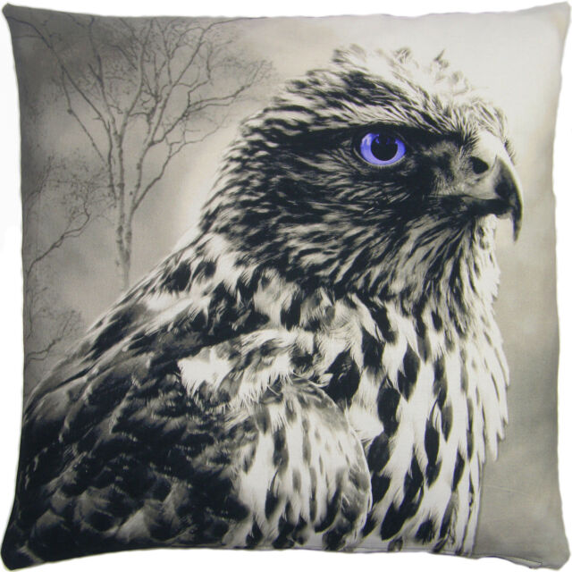 SUPERB EAGLE BIRD OF PREY 100% COTTON  BLACK GREY LARGE CUSHION COVER 22""