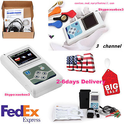 Usa Stock24 Hours 3 Channel Ecg Ecgekg Holter Monitor System Tlc9803contecce
