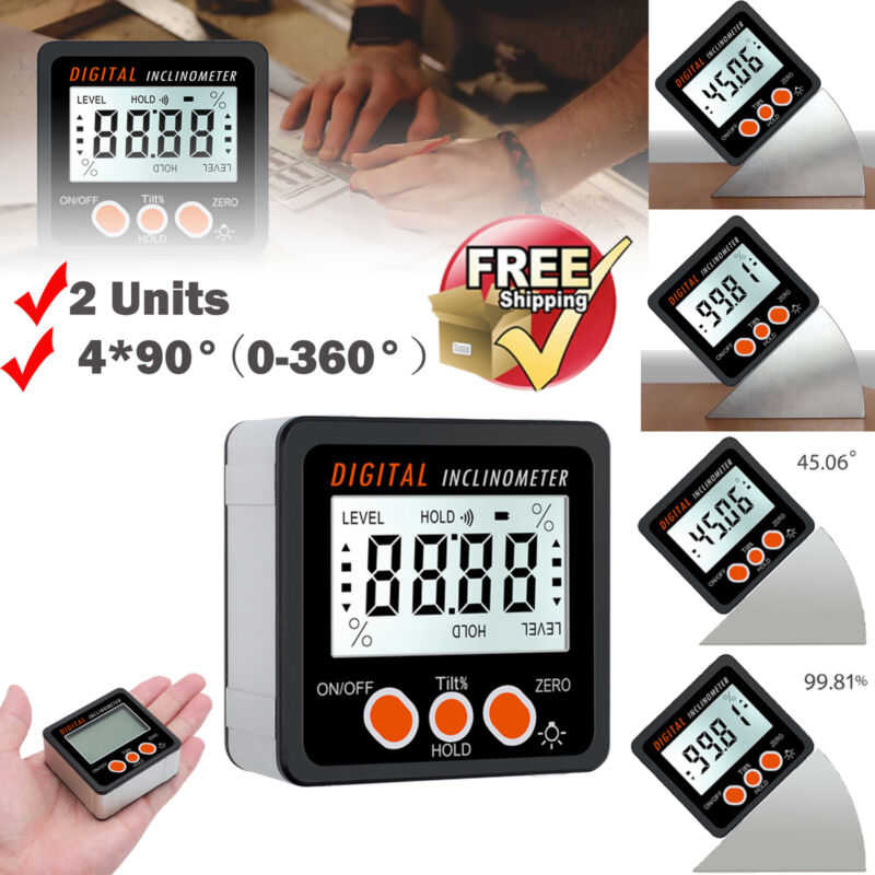 4*90° Digital Angle Finder Level Box Gauge Protractor Inclinometer+Magnetic Base