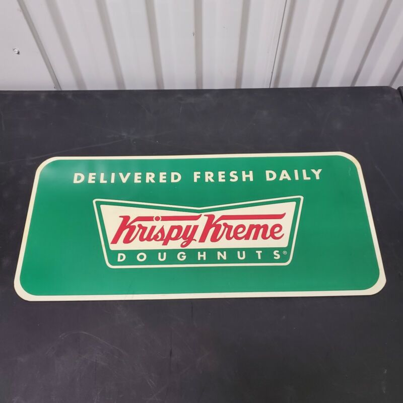 "Krispy Kreme Doughnuts ""Delivered Fresh Daily"" Mylar Plastic Store Display Sign"