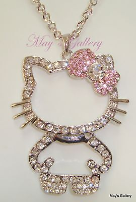 """Hello Kitty Pendant and  Necklace Crystal 27"""" Long NIB"""
