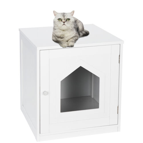 Decorative Cat House Side Table Cat Home Nightstand  Indoor Pet Crate Box Cat Supplies