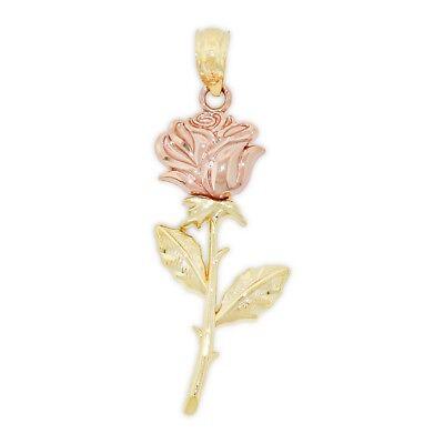 Charm America - Gold Long Stem Rose Charm - 14 Karat Solid Yellow and Rose Gold (Long Stem Rose Charm)