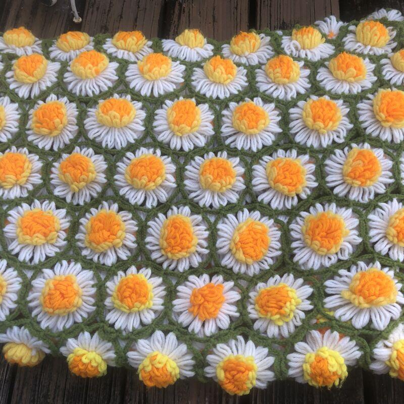"Vtg Daisy Floral Afghan Throw Blanket Green Yellow Orange Flower 50""x60 Handmade"