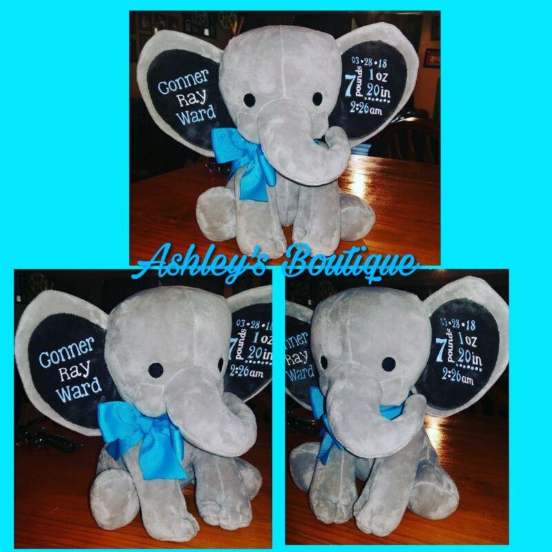 baby birth announcement elephant, plush elephant, stuffed elephant announcement