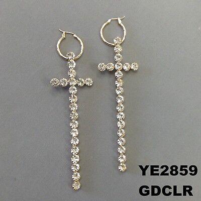 Cross Design Hoop - Clear Rhinestone Cross Bar Design Gold Finish Hoop Dangle Earrings YE2859GDCLR