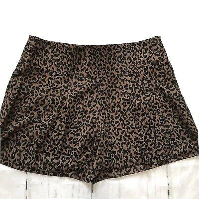 Ann Taylor LOFT Animal Print Mini Skirt Shorts size 6 side Pockets Pleated new