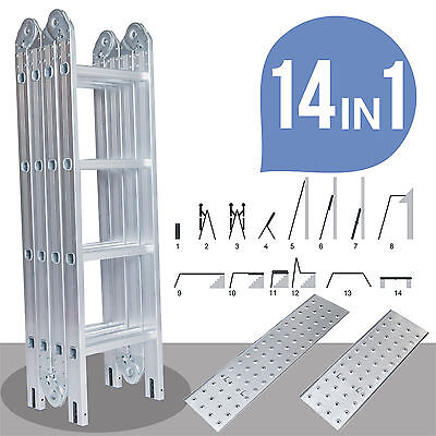 15.5ft Scaffold Ladder Heavy Duty Aluminum Multi Purpose Fold Step Extend New