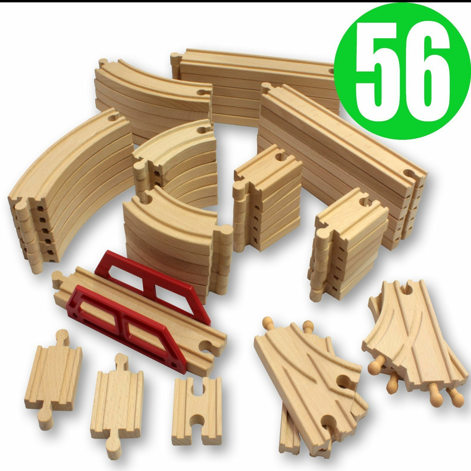 NEW 56 Wooden Train Track Pack Set. Wood Thomas Brio Chuggington Straight Curved  sc 1 st  eBay & Wooden Train Set | eBay