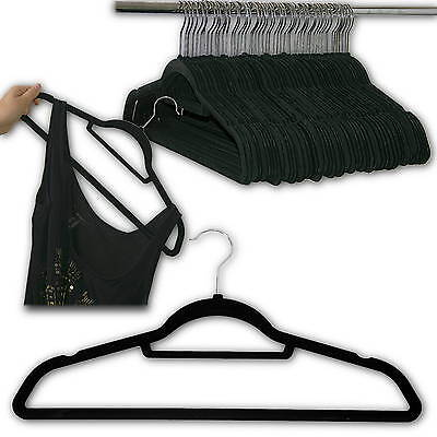 50 Stück rutschfeste Kleiderbügel mit Samt Bezug, rutschhemmend, beflockte Bügel