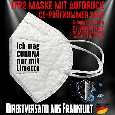 FFP2 Atemschutzmaske Mundschutz Mundmaske Zertifiziert CE 2163 Corona Limette