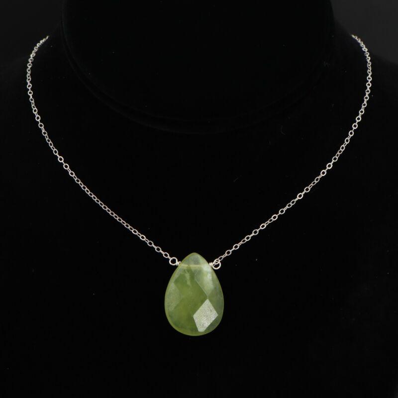 """VTG Sterling Silver - Designer Green Quartz Teardrop Pendant 18"""" Necklace - 5.5g"""