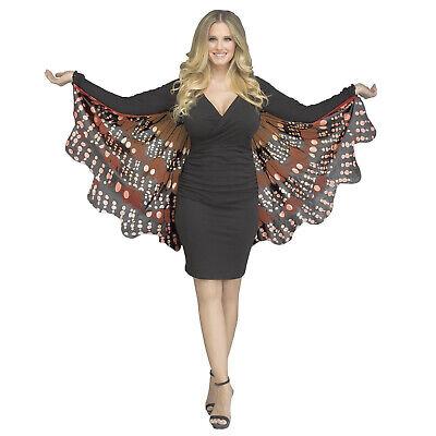 Monarch Wings Costume (Women's Orange Black Monarch Butterfly Wings Costume Cape Halloween Adult)