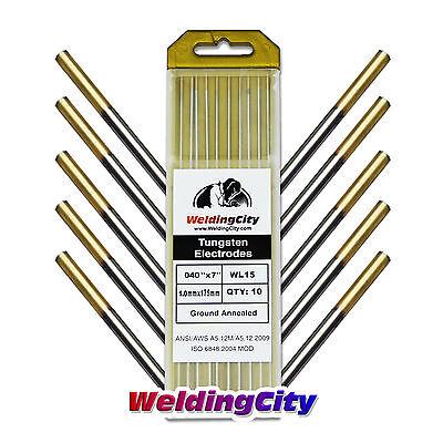 10-pk Tig Welding Tungsten Electrode 1.5 Lanthanated Gold 040x7 Us Seller