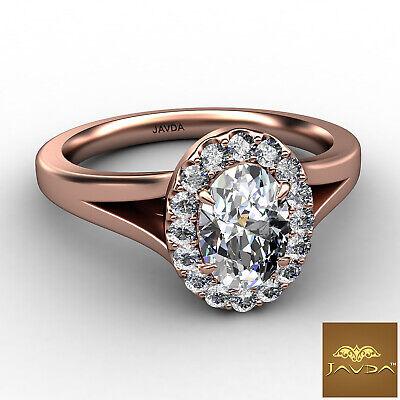 Halo Split Shank Oval Diamond Engagement French Pave Set Ring GIA F VVS1 0.70Ct 9