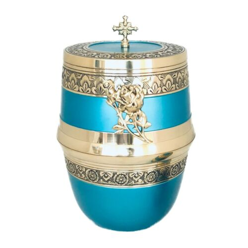 Well Lived™ Aqua Blue Brass Adult Cremation Urn for human ashes