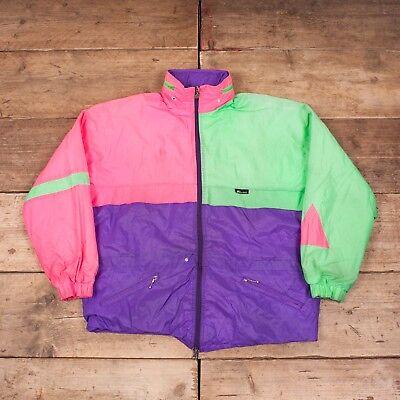 """Mens Vintage K-Way 1980s Purple Padded Raincoat Jacket Large 44"""" R8107"""