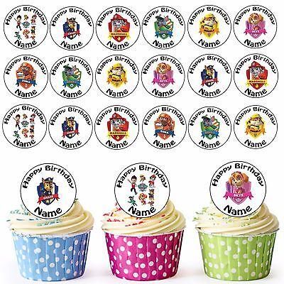 Paw Patrol Mix 24 Personalisiert Vorgeschnitten Essbare Cupcake Topper Mädchen