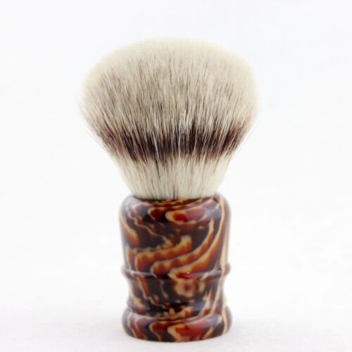 """""""FS""""- Knot 30mm  KING Pur-Tech Synthetic Hair Shaving Brush Faux Amber Handle"""