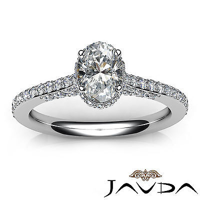 Circa Halo Pave Set Oval Diamond Engagement Ring GIA D Color SI1 Clarity 1.15Ct 3
