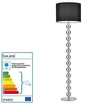 Stehleuchte Schwarz + Chrom [H:155cm] Stehlampe Standleuchte Lampe ()
