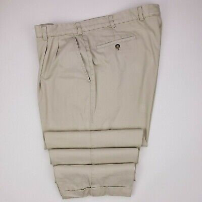 Hiltl Chinos 38x28 Beige Double Pleated Sports Pants Cotton Mens Size Cuffs Pant