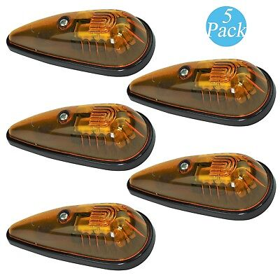 5x Teardrop Cab Marker Roof Clearance Amber Safety Lights for Truck RV Pickup (Cab Light Kits)
