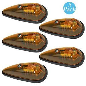 5x Teardrop Cab Marker Roof Clearance Amber Safety Lights for Truck RV Pickup