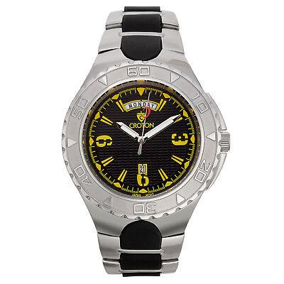 Croton Men's CA301287SSYL Super C Quartz Rotating Bezel Black Dial 48mm Watch