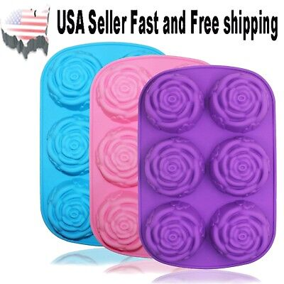 3 PACK Rose Shaped DIY Handmade Soap Mold Silicone Mold Soap Making US Seller