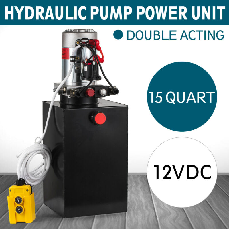 Double Acting Hydraulic Pump DC 12V Dump Trailer - 15 Quart 3200 PSI Max.