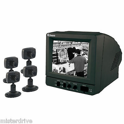 SWANN SURVEILLANCE RETAIL BUSINESS SECURITY SYSTEM 4 CCTV CAMERAS BW MONITOR A!