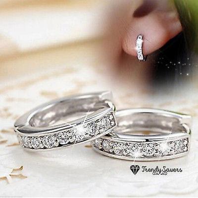 Women Men Genuine 925 Sterling Silver Small Round Crystal Hoop Sleeper Earrings