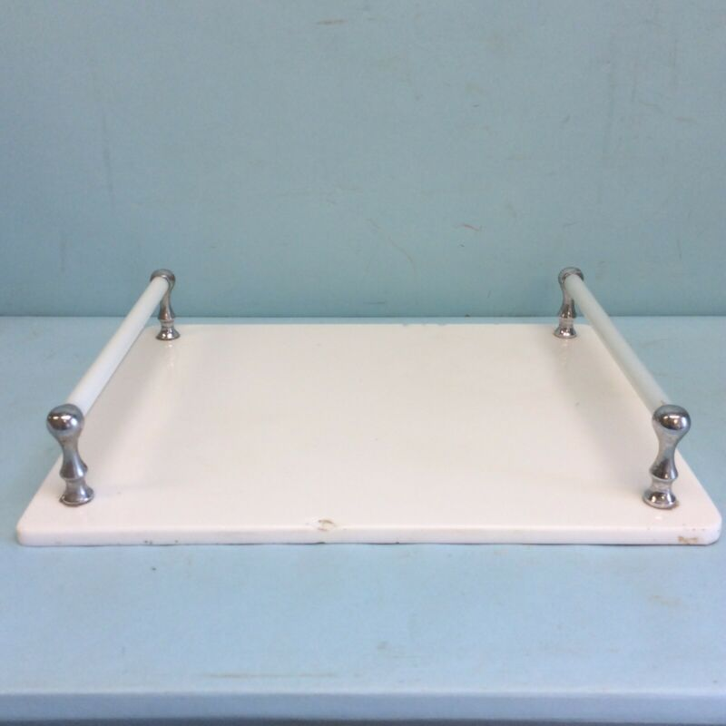 """Antique Barber Dental Tray White Glass with 2 Handles 15.5""""x12.5"""""""