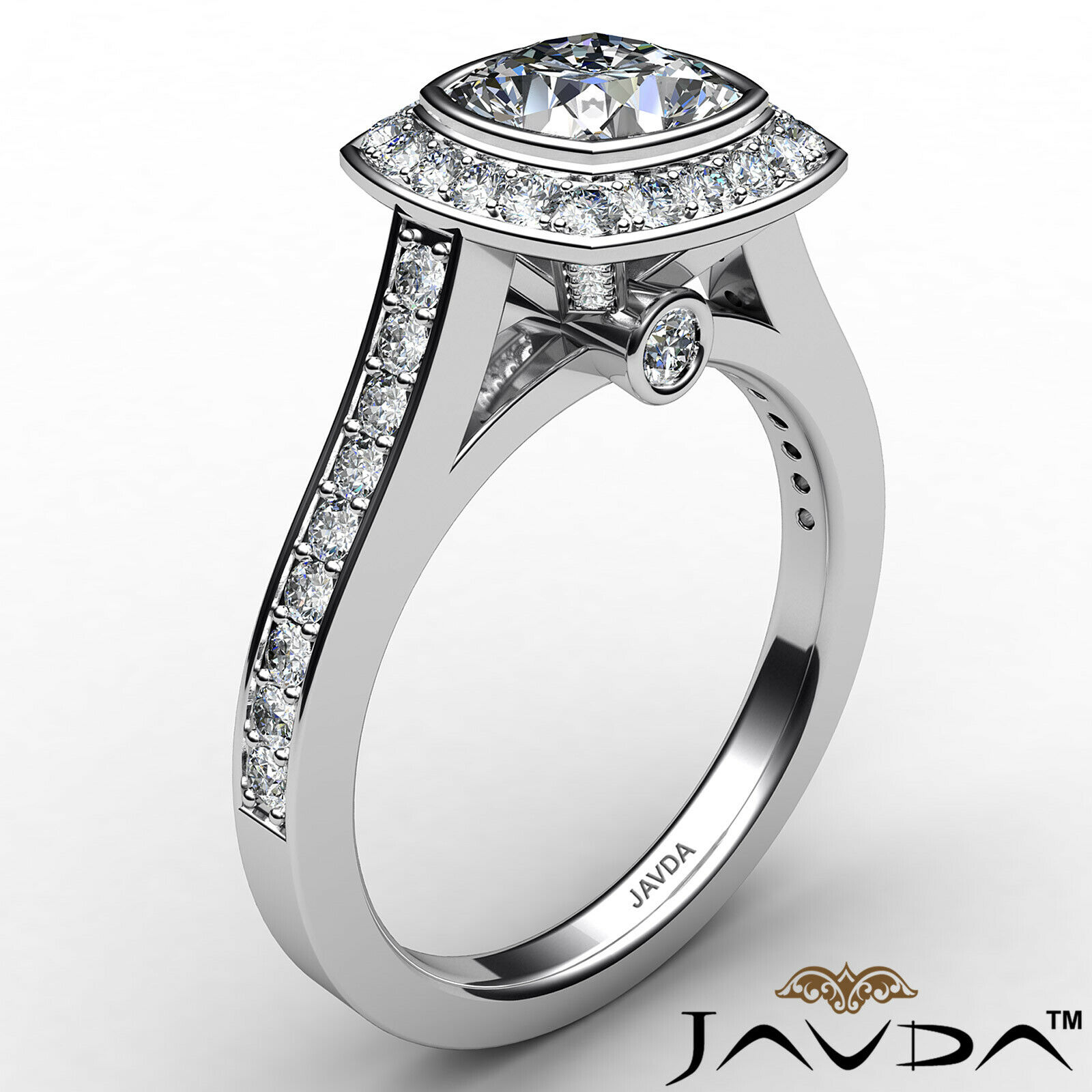 Micro Halo Cushion Diamond Engagement Ring GIA H Color & VS1 clarity 1.4 ctw 3
