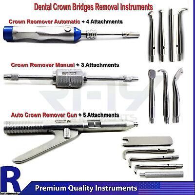 Dental Crown Remover Set Bridge Instruments Automatic Manual Gun With Attachment