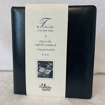Franklin Quest Classic Open Planner Binder 1 12 Navy Ultra New