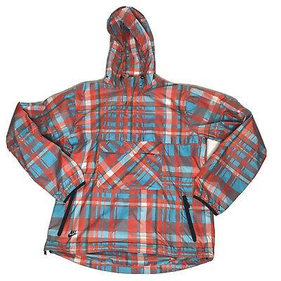 Vtg Nike Sportswear Anorak Windbreaker Mens L Plaid Pullover Jacket Hooded Coat