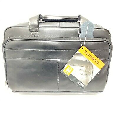 Samsonite Laptop Case Genuine Leather Bag Travel Slim Briefcase Black 15.6""