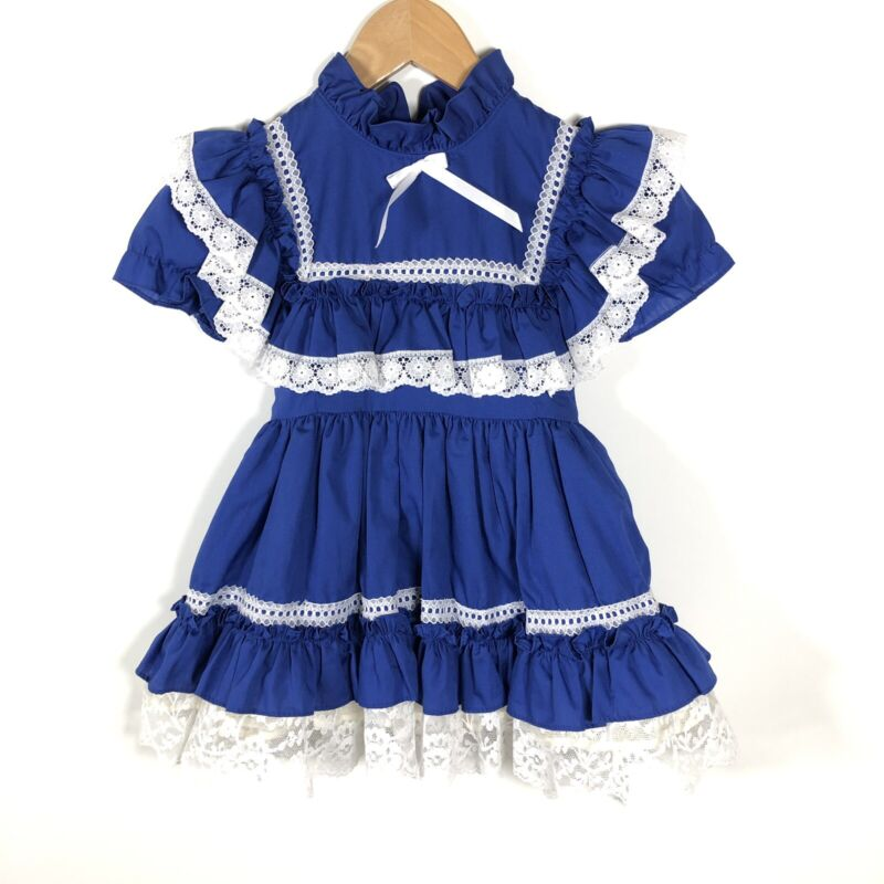 GOLDEN AGE Size 4T California Girls Vintage Dress Blue Ruffle Lace Trim USA