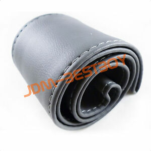 Leather-Steering-Wheel-Cover-With-Needles-Thread-DIY-GRAY-SIZE-M-USA