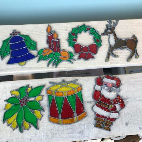 Christmas Stained Glass Sun Catchers Hand Made Vintage 1970s Craft Lot of 7