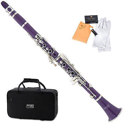 Mendini Black Blue Green Pink Purple Red White Bb Clarinet +CareKit+11Reeds+Case on Rummage